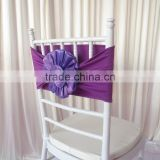 Free Shipping New Product: 100PCS 20cm*76cm Purple Spandex Band With Organza Big Flower For Chivari Chair Use