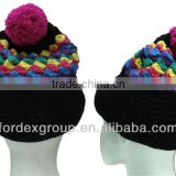 Bobble Beanie Hat with Braided Earflaps and Built-in Headphones