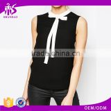 2016 Guangzhou Shandao Hot Selling New Elegant Style Summer Formal Sleeveless Black Bow Tie Collar Chiffon mLadies Blouse Desigs