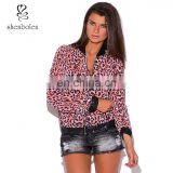 pink leopard animal print and faux leather long sleeve chiffon bomber jacket from Chinese clothing manufacturers