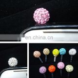 Wholesale diamond cell phone mobile anti dust plug charm for iPhone earphone ear cap dock dust plug MCD-0018