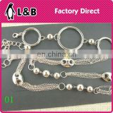 wholesale Custom made metal fashion plate belt lady decoration metal silver waist chain