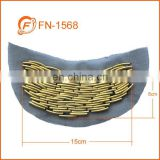 brass tube gold color crest applique patch