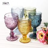 Stocked colored stemware red wine glass machine made eco-friendly glass cup