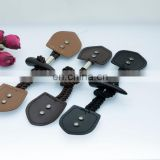 Normal 4-5CM Brown Imitation Rod Horn Color Polyester Resin Coat Toggle Finished Button Has Leather Patch For Fur Coat