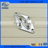 LARGE 8 MM STAINLESS STEEL PAD EYE PLATE DIAMOND EYE PLATE SUITABLE FOR SHADE SAIL / MARINE / GENERAL PURPOSE FITTINGS