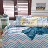2015 Newest simple design blue weave line printed cotton bedspread bedding set comforter quilt sets home textile for America
