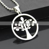 Stainless steel tree of life pendant necklace