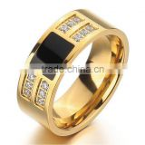 Men's Stainless Steel Enamel Ring Band CZ Gold Black Classic Wedding Charm Elegant ring