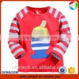9pcs/lot red color 100% cotton stripe sleeve t shirt design the long sleeve t-shirt children clothing t-shirts