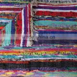 Hand Loomed Chindi Rag Rug Ethnic Yoga Mat Hand Woven Durrie Carpet Multi Color Sari Throw