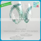 Maidenhair Fern Glasses Set of 4 Hand Painted Wine Glass Green Teal and White glass stemware