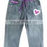 Hot Sale Baby spring jeans kids elastic purple rib band denim jeans baby pants baby jeans
