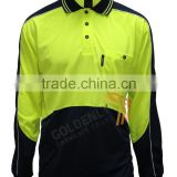 Hot sale OEM hi vi safety long sleeve polo shirt