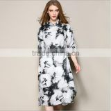 3/4 Sleeves Fashionable party long skirts high top silk dress beauty every clothes