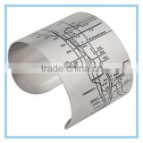 stainless steel map cuffs bracelets make navigation                                                                         Quality Choice