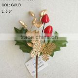 "New Artificial Christmas Gold Flower Pick 5.5"" Artificial Butterfly Flower With Berries"
