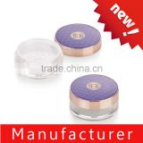 China supplier round purple cosmetic loose powder jar / case / container / box with sifter
