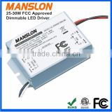 ETL FCC approval 25W - 30W 36V constant current triac dimmable 900mA LED driver switching power supply