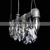 1018-9 high quality Bohemian crystal popular steel pipe 5 Light Bar Chandelier hung a hallway in front of a mirror