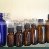 amber glass bottle with screw plastic cap