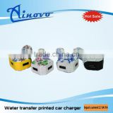 Factory price Newest design Water transfer printed car charger dual usb, for iphone car charger
