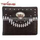 Crocodile Print Money Card Holder Braided Black Leather Western Wallet For Men