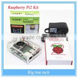 Transparent Clear Case Enclosure Box With Cooling Fan + Raspberry Pi 2+N8508GS Wifi Adapter+AC Power Adapter Charger