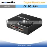 Metal 2 Way HDMI Splitter 1x2 Port (1 input 2 output) - 1080p Full HD - Display HD on 2 TVs
