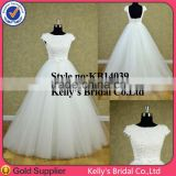 2014 New Arrive elegant lace top and tulle skirt wedding dress made in China