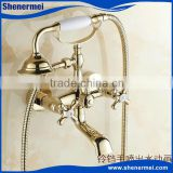 Blue and White Porcelain Dual Handle Antique Brass Shower Faucet