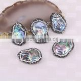 Charm Rainbow Abalone Shell Connector Beads, Pave Crystal Jewelry Gem For Jewelry Making