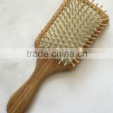 Bamboo handle wooden pins square cushion hair brush