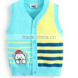 V-neck button-down jacquard kniting colorful stripe baby sweater vest