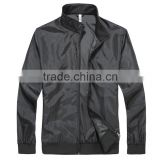 Manufacturer From Jiangxi Men's Waterproof Jacket Black Color Open Fly with Zipper 100% Polyester AC Coated With 1x1 Rib