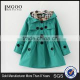 MGOO New Arrival Stock Three Colors Korea Design Children Trench Coat Girl Winter Fashion Outwear