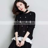 2017 New design black short sweater spring fashion women sweater with pearl and detachable hem-line