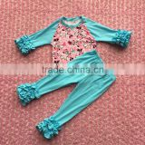 FLF-856 blue icing leggings matched baby ruffle raglan shirts children frocks designs cartoon mouse clothing set