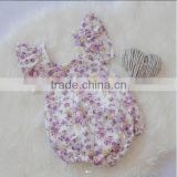 Summer Soft Newborn Baby Cotton Clothes Toddler Floral Vintage Bodysuit Baby Girls Ruffle Design Romper