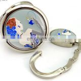 epoxy silver metal pocket mirror and bag hangger hook