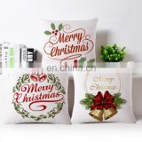 45x45cm Pillow Case Christmas Decorations For Home Santa Clause Christmas Deer Cotton Linen Cushion Cover Home Decor