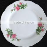 cut edge porcelain plate three flower design dinner plate