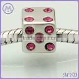 925 sterling silver cube dice beads with CZ paved for European charms bracelet