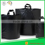 Black Plastic Shopping Bags 2Mil Thickness Custom Made Shopping Bags 14''x6''x16'' Poly Shopping Bags