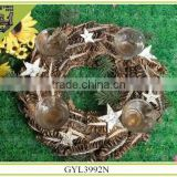 Chinese natural pinecones crafts round 4 cups candle holder
