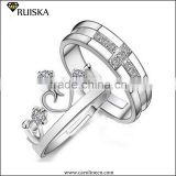 Custom White Gold Plated King And Queen Diamond Engagement And Wedding Ring
