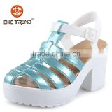 2015 ladies sandal shoes ladies fashion shoes high heel shoes safety shoes PVC gliter upper sandals