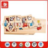 wholesale love toy 28 pcs cat cow dog horse pig duck design and so many different animal in wooden box has cap domino set