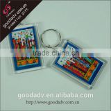 Fashion promotional items custom printed clear acrylic photo keyrings