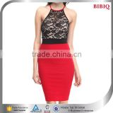 party club ladies career dress sexy nude mesh lace pattern red black patchwork Asian suits